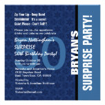 50th SURPRISE Birthday Modern Hues of Blue S693 Invites