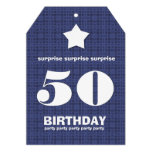 50th SURPRISE Birthday Modern Star Ticket Shape Custom Announcements