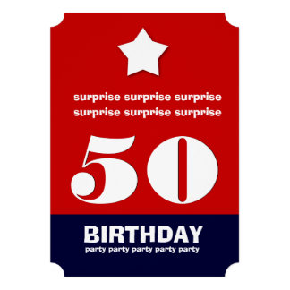 50th SURPRISE Birthday Modern Star Ticket Shape V1 Announcements