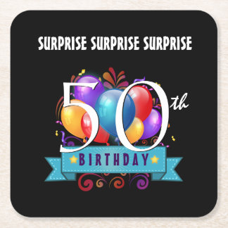 50th SURPRISE Birthday Party Balloons B50Z Square Paper Coaster