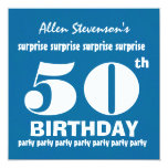 50th SURPRISE Birthday Party Blue White V02 Personalized Announcements