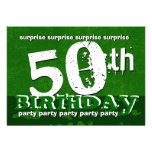 50th SURPRISE Birthday Party Green Grunge V01 Personalised Invite