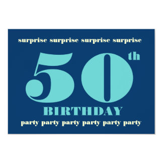50th SURPRISE Birthday Party Invitation - Blue