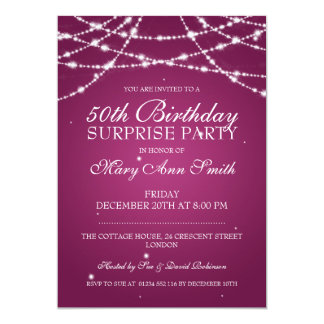 50th Surprise Birthday Party String Stars Pink 13 Cm X 18 Cm Invitation Card