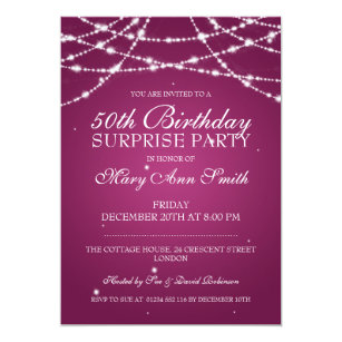 Surprise 50th birthday invitations announcements zazzle 50th surprise birthday party string stars pink card filmwisefo Choice Image