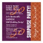 50th SURPRISE Birthday Purple and Orange Invitations