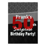 50th Surprise Birthday Red Black White Metallic Personalised Announcement