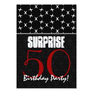 50th Surprise Birthday Red Black White Pattern Card