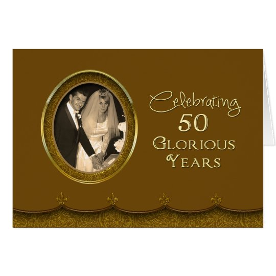 50th Wed. Anniversary Invite - Photo/Gold Card