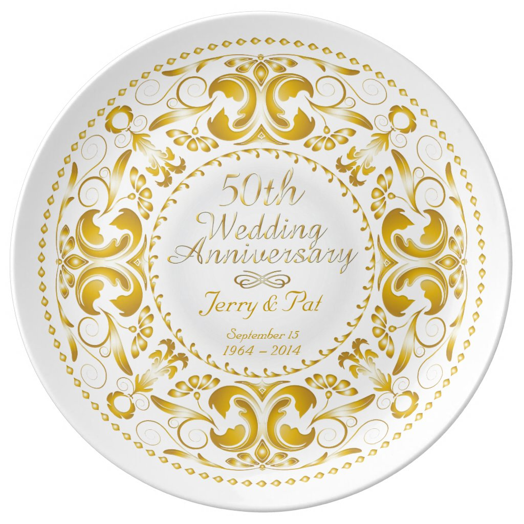 50th Wedding Anniversary 5 - Ceramic Plate