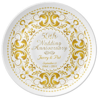 50th Wedding Anniversary 5 - Ceramic Plate Porcelain Plate