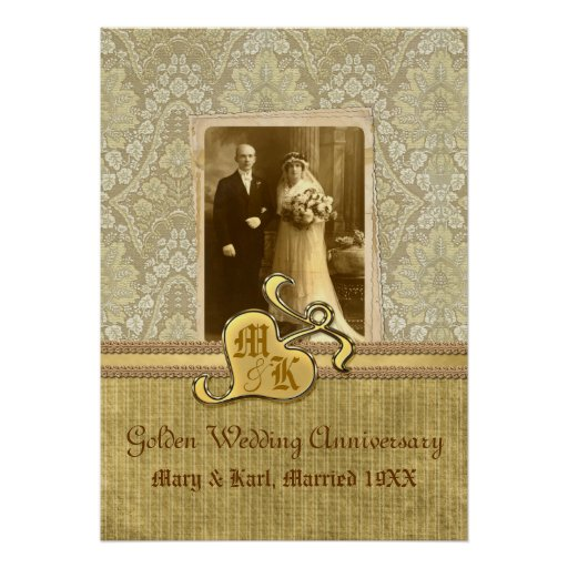 50th Wedding Anniversary Antique Damask Gold Posters