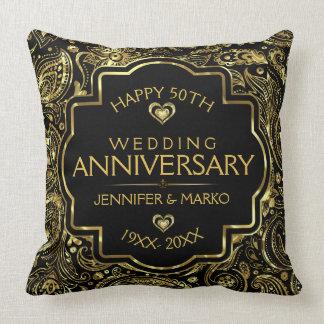 50th Wedding Anniversary Black And Gold Design Cushion
