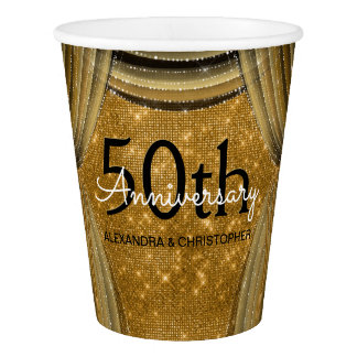 50th Wedding Anniversary Black and Gold Sparkle Paper Cup