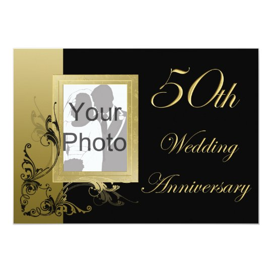 50th Wedding Anniversary Black Gold Effect Swirls Card