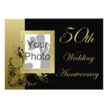 50th Wedding Anniversary Black Gold Effect Swirls Personalised Announcements