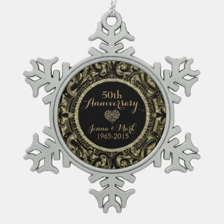 50th Wedding Anniversary Black & Gold Floral Pewter Snowflake Decoration