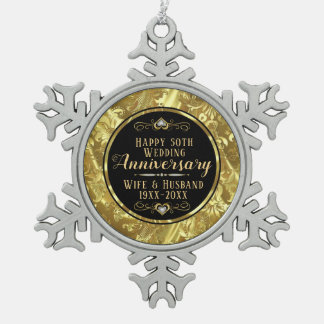 50th Wedding Anniversary Black & Gold Snowflake Pewter Christmas Ornament