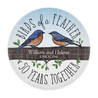 50th Wedding Anniversary, Bluebirds of a Feather Cutting Board