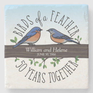 50th Wedding Anniversary, Bluebirds of a Feather Stone Coaster