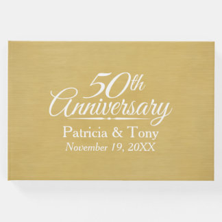 50th Wedding Anniversary - brushed gold background Guest Book