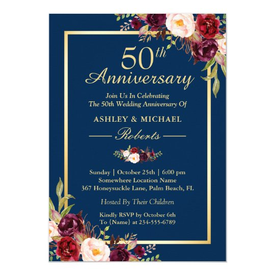 50th Wedding Anniversary Burgundy Floral Navy Blue Card
