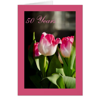 50th Wedding Anniversary Card Pink Tulips