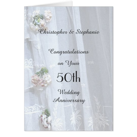50th Wedding Anniversary Card, Vintage Lace Card