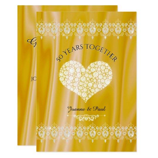 50th Wedding Anniversary Celebration Gold Diamonds Card