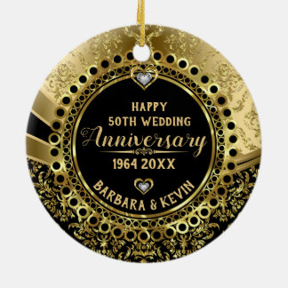 50th Wedding Anniversary Diamonds & Gold Damasks Christmas Ornament