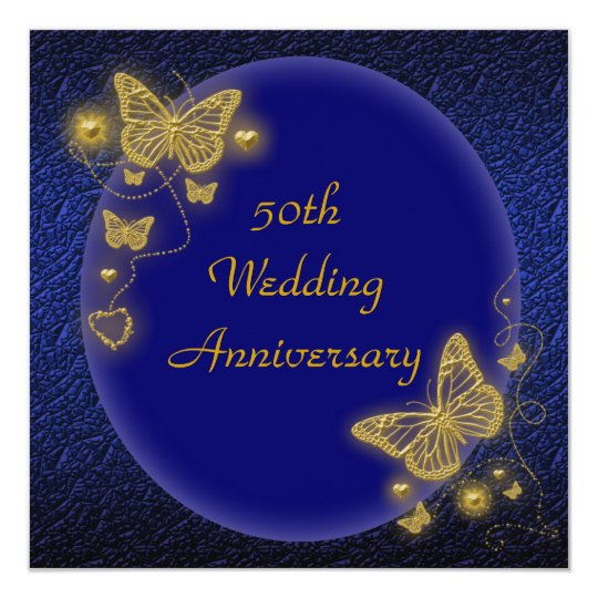 50th wedding anniversary elegant butterfly gold card