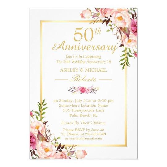 50th Wedding Anniversary Elegant Chic Gold Floral Card