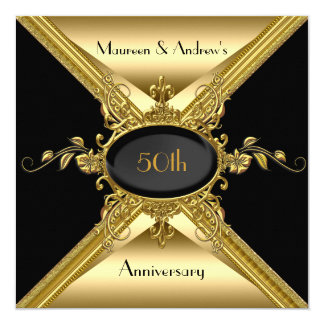 50th Wedding Anniversary Elegant Gold Golden Card