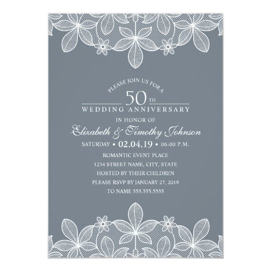 50th Wedding Anniversary Elegant Luxury Lace Card