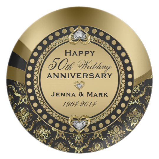 50th Wedding Anniversary Floral Black & Gold 4a