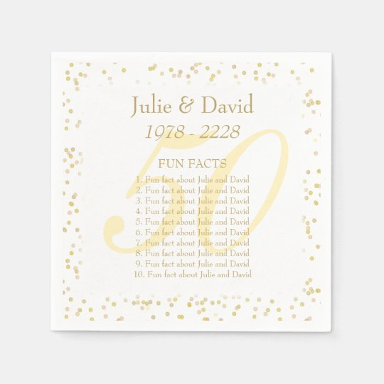 50th Wedding Anniversary Fun Facts Disposable Serviettes