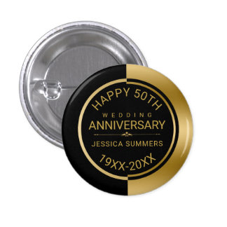 50th Wedding Anniversary Geometric Black & Gold 3 Cm Round Badge