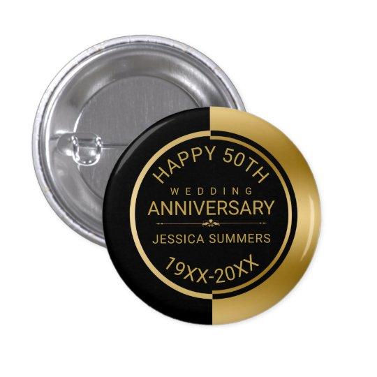 50th Wedding Anniversary Geometric Black & Gold 3