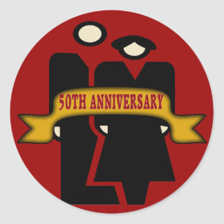 50th Wedding Anniversary Gifts Round Stickers