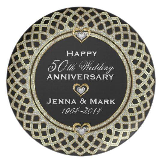 50th Wedding Anniversary Glitter & Gold Dinner Plates