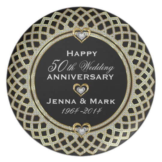50th Wedding Anniversary Glitter & Gold Plate