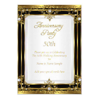 50th Wedding Anniversary Gold Black White Pearl Card