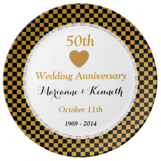 50th Wedding Anniversary Gold Checks and Lace V09C Porcelain Plates