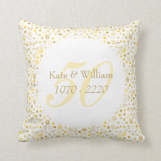 50th Wedding Anniversary Gold Confetti Cushion
