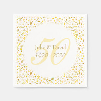 50th Wedding Anniversary Gold Confetti Paper Napkins