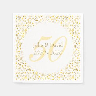 50th Wedding Anniversary Gold Confetti Paper Napkins