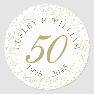 50th Wedding Anniversary Gold Dust Confetti Classic Round Sticker