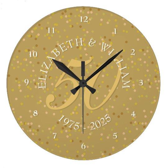 50th Wedding Anniversary Gold Dust Confetti Large Clock