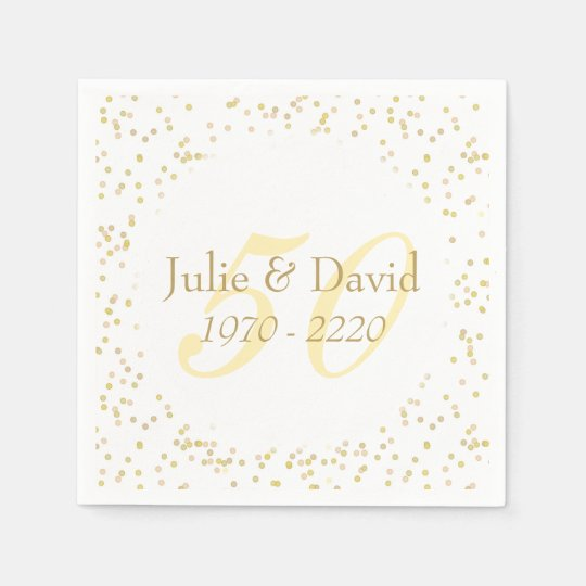 50th Wedding Anniversary Gold Dust Confetti Paper Napkins