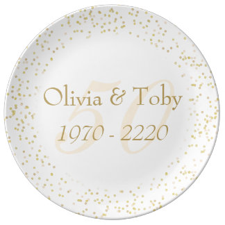 50th Wedding Anniversary Gold Dust Confetti Porcelain Plate